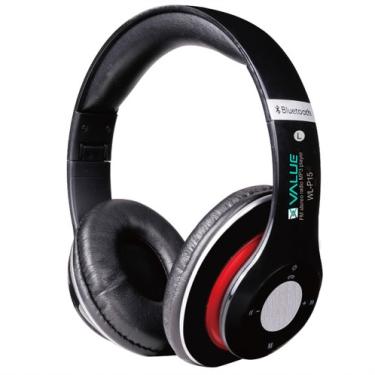 אוזניות סטריאו שחורות בלוטוס VALUE (מקבל כרטיס זיכרון)